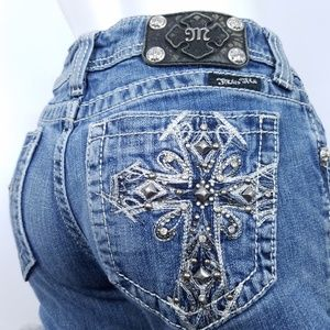 MISS ME Jeans Embellished Bling Studs Cross Pocket